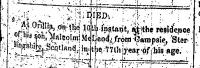 Malcom McLeod death notice 1862