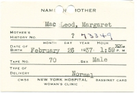 David Cameron Macleod Birth Card