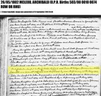 Archibald McLeod 1801 Birth