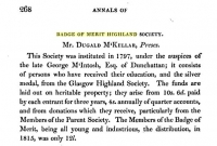 Information on Badge of Merit from Highland Society