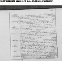 Donald (Daniel) 1816 birth