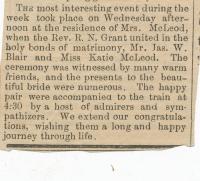 Katherine Rachel McLeod and James Wilson Blair wedding announcement