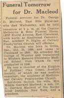 George Duncan McLeod newspaper obituary